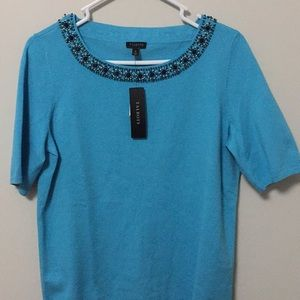 {TALBOTS} Blue/Turquoise Beaded Trimmed Sweater